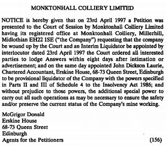 Gazette MCL liquidation