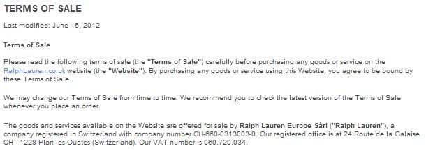 RL Terms of Sale