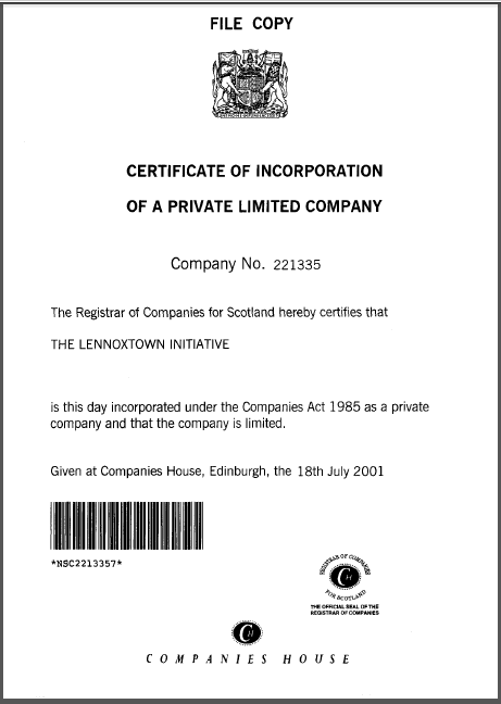 cert of incorporation LI 18 July 2001