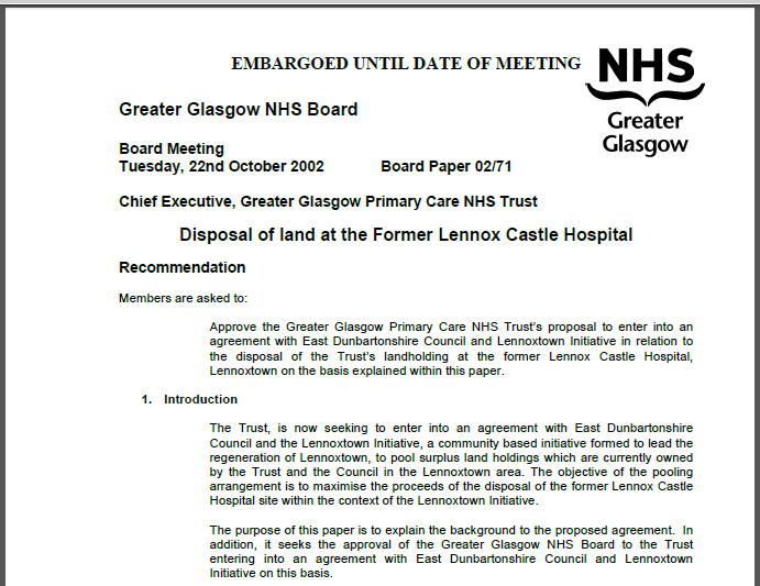 NHS GGC board paper 22nd October 2002
