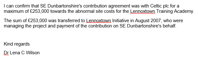 August 2007 payment to Celtic via Lennoxtown Initiative