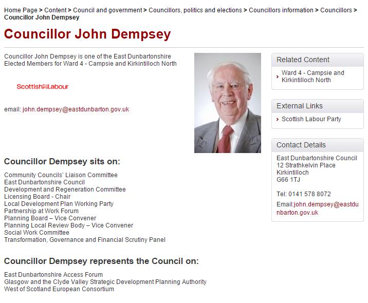 Councillor John Dempsey webpage 24 10 2014