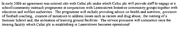 LI Annual report Celtic SLA agreed early 2006
