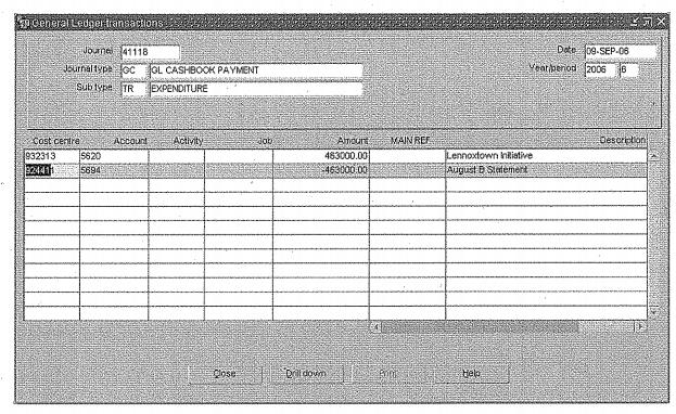 NHSGGC Payment ledger entry