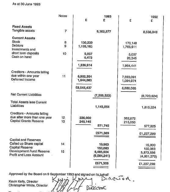 Celtic Balance Sheet yr ending 30 June 1993