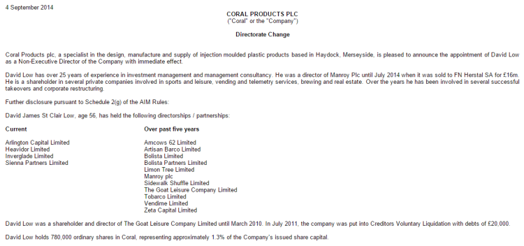 Coral Products David Low appointment as Director 2014