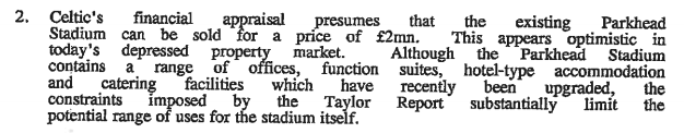 GDA valuation of Parkhead 1