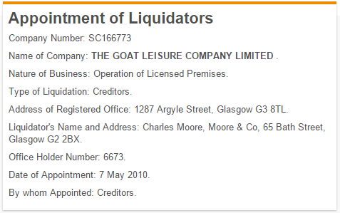 Goat Appointment of Liquidators
