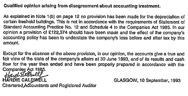 Qualified opinion from Auditors 30 June 1993 annual report