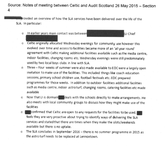 Evidence note of meetings between Celtic and Audit Scotland