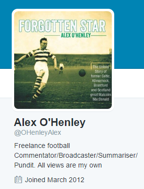 Alex OHenley personal twitter