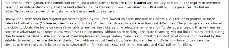 EU State Aid Real Barcelona Althletic Bilbao Atletico Osasuna Valencia etc 2