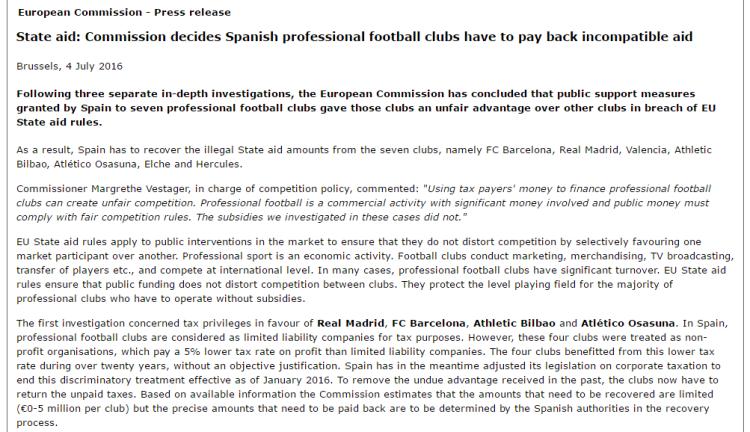 EU State Aid Real Barcelona Althletic Bilbao Atletico Osasuna Valencia etc