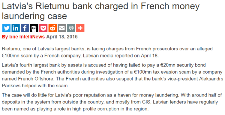 Latvias Rietumu Bank charged in French money laudering case