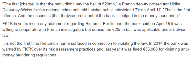 Latvias Rietumu Bank charged in French money laundering case 2