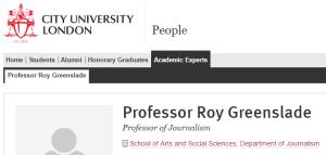 Roy Greenslade City Uni London