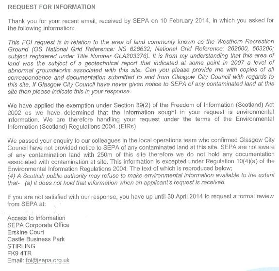 SEPA letter Westthorn
