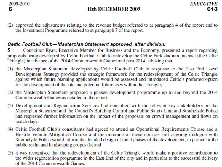 Celtic Masterplan approved December 2009