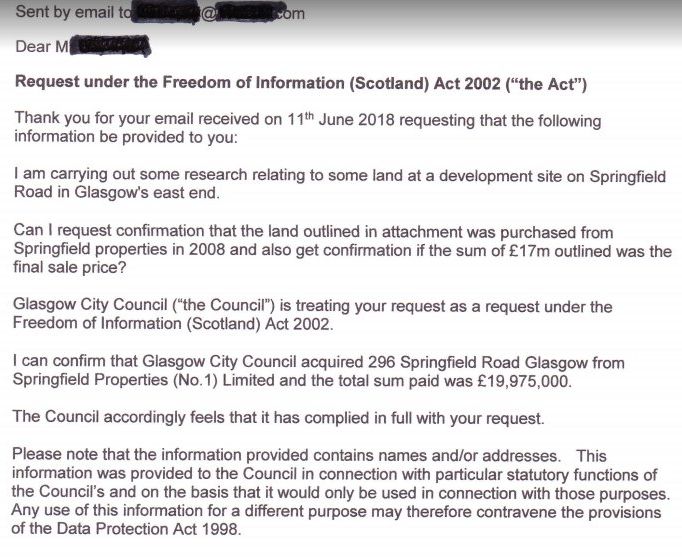 FOI 20m Springfield Rd GCC land purchased