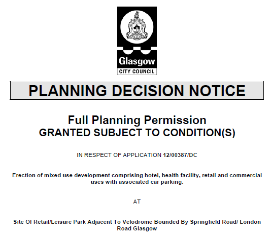 Retail Hotel Planning Decision Notice