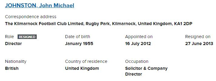 Michael Johnston Kilmarnock