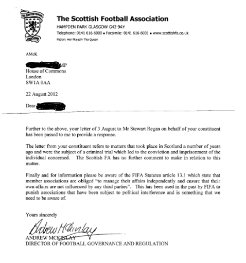 SFA Andrew McKinlay letter 2012