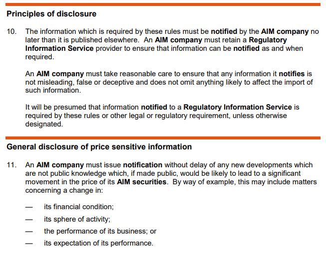 AIM Disclosure rules