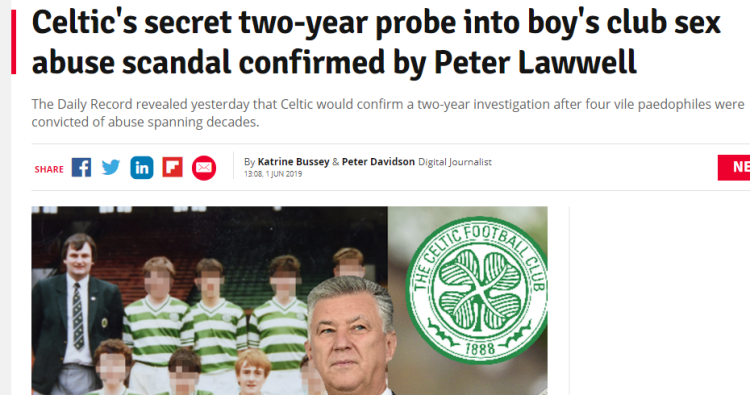 Celtic secret two year investigation into boys club sex abuse confirmed by Peter Lawwell 1 Jun 2019