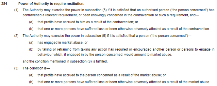 Section 384 Power of Restitution paragraph