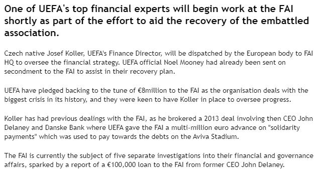 FAI need bailout UEFA finace director sent in 2019
