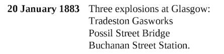 Fenian bombing campaign Glasgow 1888