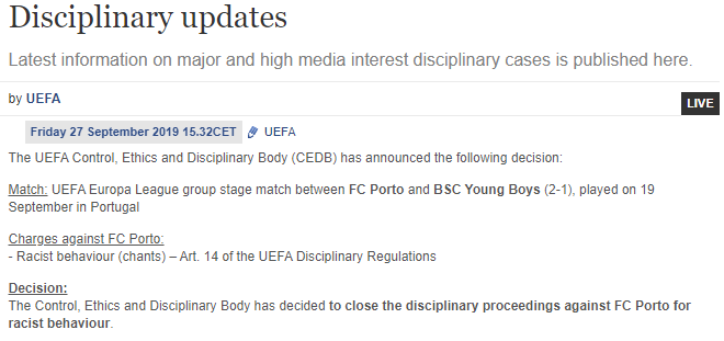 Porto UEFA racism charges dropped 2019