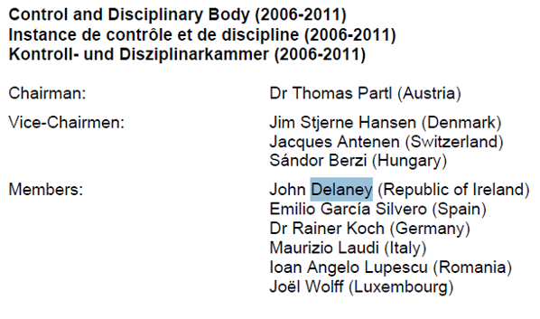 UEFA Disciplinary Committee 2006 2011